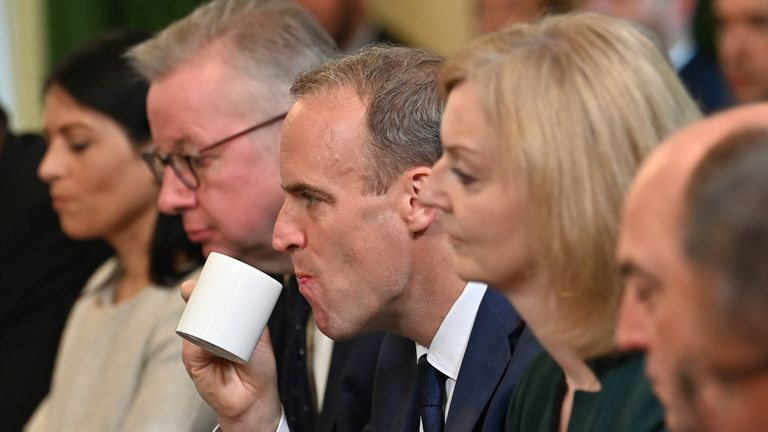 (left to right) Home Secretary Priti Patel, Housing Secretary Michael Gove, Justice Secretary and deputy Prime Minister Dominic Raab, Foreign Secretary Liz Truss, and Defence Secretary Ben Wallace during the first Cabinet meeting since the reshuffle at 10 Downing Street, London. Picture date: Friday September 17, 2021.