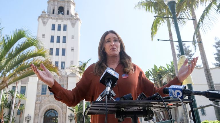Caitlyn Jenner admits defeat at a news conference in Beverly Hills. Pic: AP