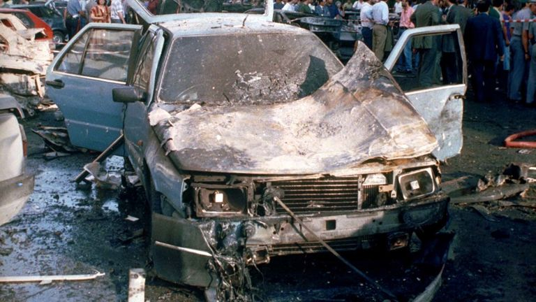 A car bomb killed Paolo Borsellino in July 1992. Pic: AP