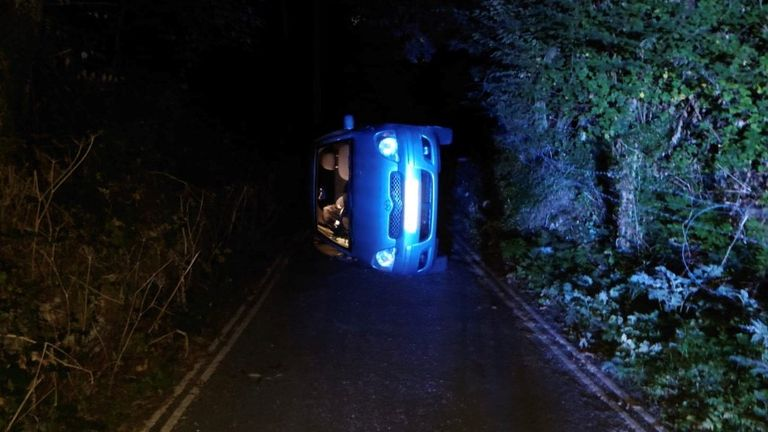 """Derbyshire police said the car rolled down a hill after the handbrake became """"dislodged"""""""