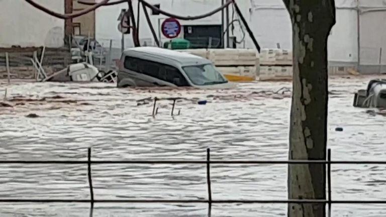 A car washed away in Almendralejo, Spain.