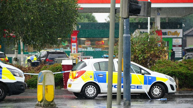 Bristol incident Police at the scene of an incident in Hengrove Way, Bristol, where a man armed with a knife is inside the shop of the petrol station. Staff members are uninjured within a safe room and in contact with officers. Picture date: Thursday September 9, 2021.