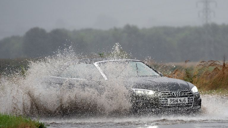 The A149 near Kings Lynn in Norfolk also saw a large amount of standing water