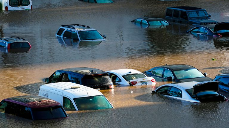 Vehicles are under water during flooding in Philadelphia Sept. 2, 2021 in the aftermath of downpours and high winds from the remnants of Hurricane Ida that hit the area.  PIC:AP