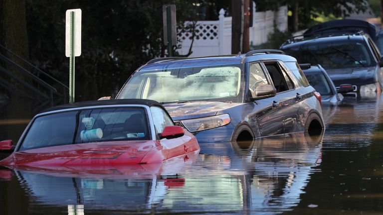 Local residents escape flooding in Mamaroneck, New York