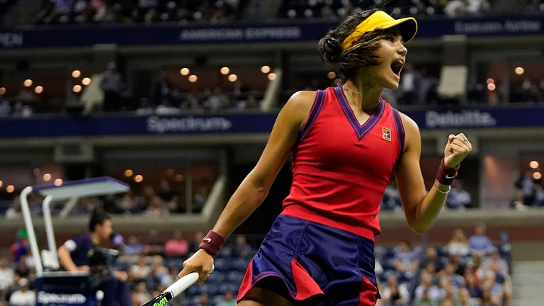 Emma Raducanu, of Great Britain, reacts after scoring a point against Maria Sakkari, of Greece, during the semifinals of the US Open tennis championships, Thursday, Sept. 9, 2021, in New York.  PIC:AP