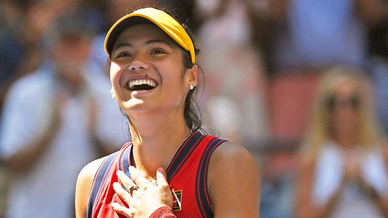 Emma Raducanu reacts to winning a Women's Singles quarterfinal match at the 2021 US Open, Wednesday, Sep. 8, 2021 in Flushing, NY PIC:AP