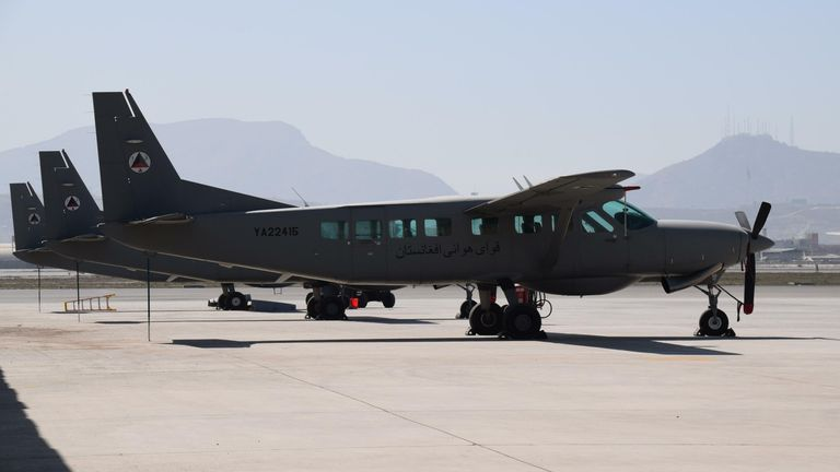 Cessna C-208 light transport planes of the Afghan Air Force parked on Kabul Military Airport. -  SOPA Images Limited / Alamy Stock Photo 23 February 2016