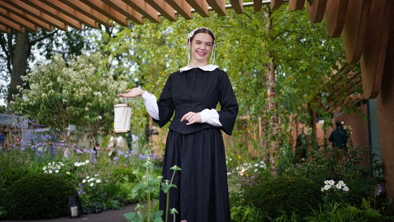 A woman dressed as Florence Nightingale in the Florence Nightingale garden