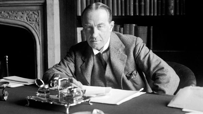 1923: The Prime Minister Stanley Baldwin at Chequers, the Prime Ministers official country seat.