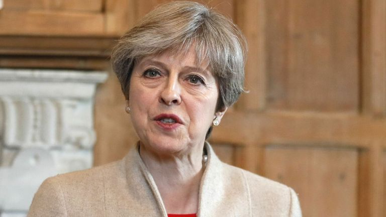 2017: Pic: AP Britain's Prime Minister Theresa May delivers a statement after a visit by Prime Minister Shinzo Abe of Japan to Chequers near Wendover in Buckinghamshire, England, Friday, April 28, 2017. (AP Photo/Kirsty Wigglesworth, pool)