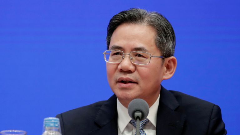 Chinese Vice Minister of Foreign Affairs Zheng Zeguang attends a news conference