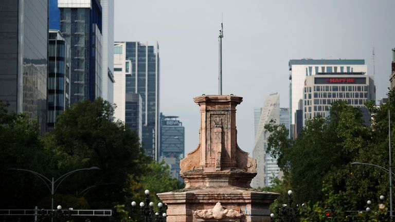 The empty pedestal where the statue of Christopher Columbus used to stand in Mexico City