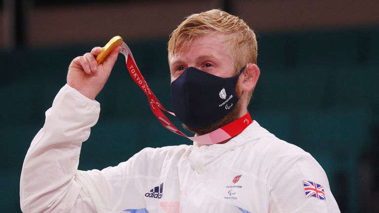 Christopher Skelley won the 100kg  judo competition. Pic: AP