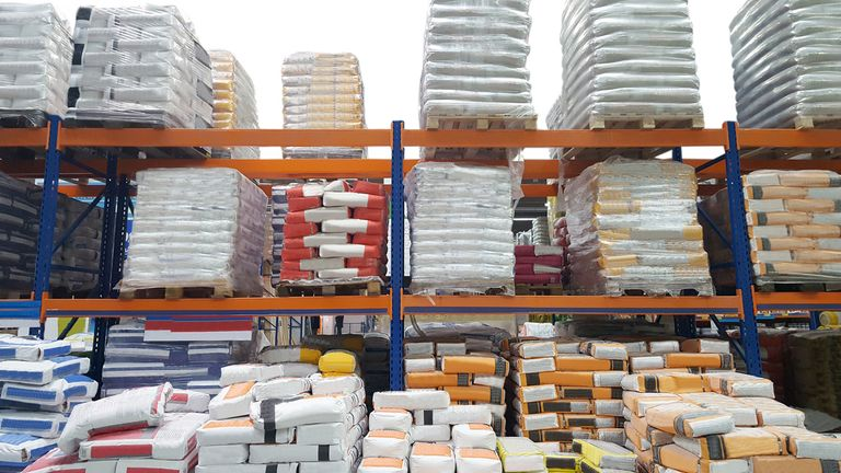 construction warehouse with cement bags for industry use
