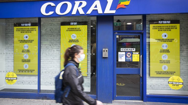 File photo dated 9/6/2020 of a Coral betting shop in central London.