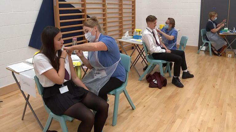 Schoolchildren receive their jabs at Belfriars Academy in Leighton-on-Sea