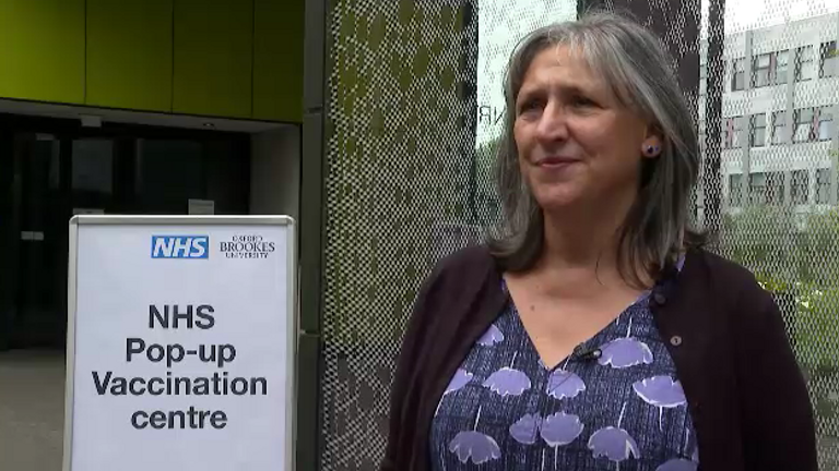 Tehmeena Amjal, COVID-19 operations director at Oxford Health, spokeat a walk-in site for students studying in the city