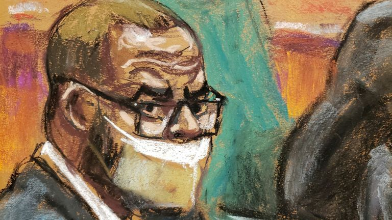 R. Kelly sits with his lawyers Nicole Blank Becker, Devereaux Cannick and Thomas Farinella during Kelly's sex abuse trial at Brooklyn's Federal District Court in a courtroom sketch in New York,