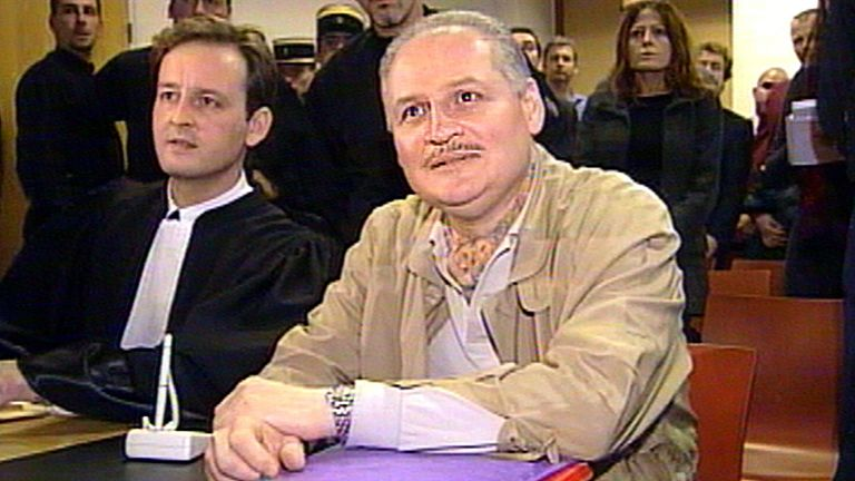 """CARLOS """"THE JACKAL"""" AND LAWYER IN PARIS COURT DURING FRANKFURT TRIAL OF GERMAN ACCOMPLICE HANS-JOACHIM KLEIN. Ilich Ramirez Sanchez, better known as """"Carlos the Jackal"""" (R) sits next to his lawyer Francis Vuillemin (L) in court in Paris November 28, 2000 coinciding with a trial in Frankfurt of his former German accomplice Hans-Joachim Klein."""