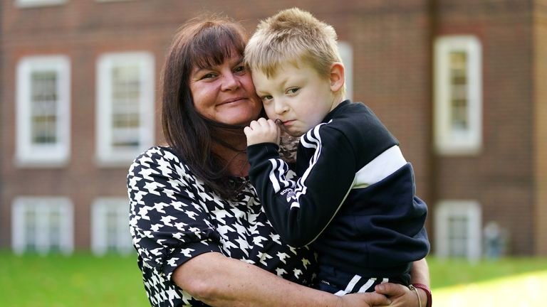 Rebecca Currie and her son Mathew Richards in the gardens of the Raymond Buildings in London, after winning a High Court case against the Environment Agency (EA) over the regulation of a Staffordshire landfill site. Picture date: Thursday September 16, 2021.