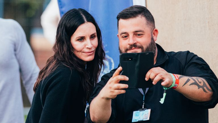 Courteney Cox was among the star guests seen at the Isle Of Wight Festival. Her boyfriend Johnny McDaid is a member of headliners Snow Patrol. Pic: David Rutherford/ Isle of Wight Festival 2021