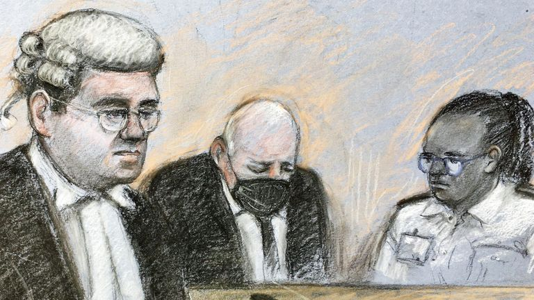 Court artist sketch by Elizabeth Cook of prosecutor Tom Little QC speaking as former Metropolitan Police officer Wayne Couzens, 48, sits in the dock at the Old Bailey