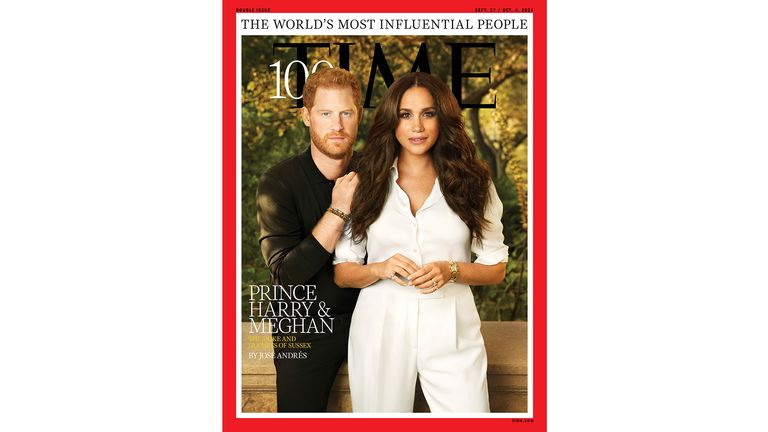 Britain's Prince Harry and Meghan, Duchess of Sussex, appear on the cover of Time magazine's 100 most influential people in the world edition in this handout photo released to Reuters on September 15, 2021. Pari Dukovic for TIME/Handout via REUTERS  MANDATORY CREDIT NO RESALES. NO ARCHIVES THIS IMAGE HAS BEEN SUPPLIED BY A THIRD PARTY.  NO CROPS OR ALTERING OF PHOTOS PERMITTED PIC:Pari Dukovic for TIME
