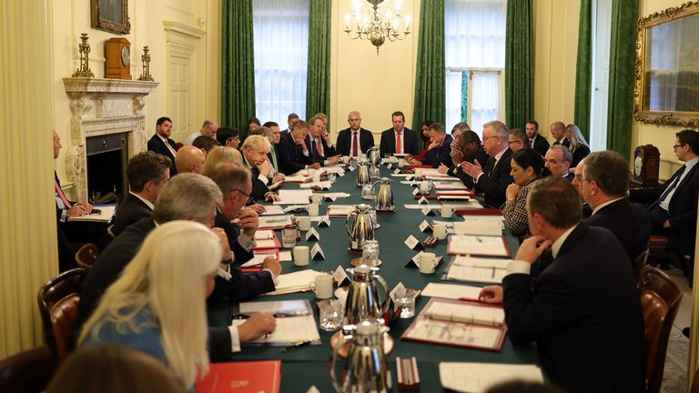 None of the Cabinet were seen wearing masks during a weekly meeting on Tuesday