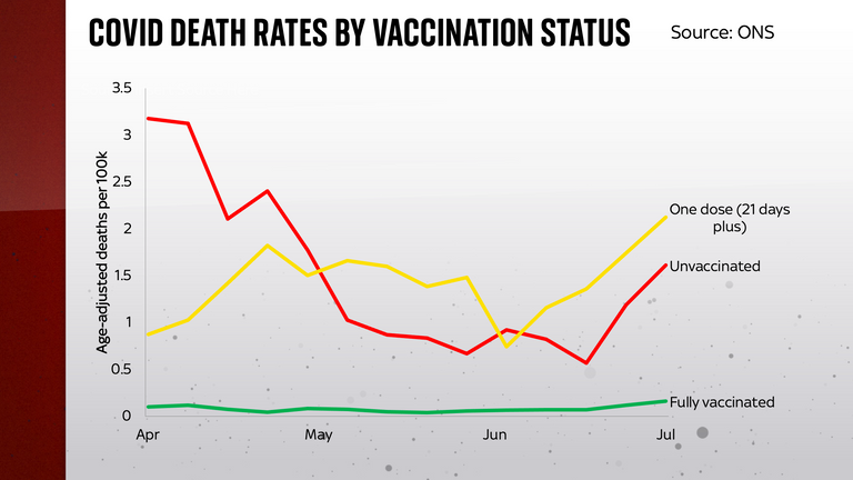 There was a clear gap between fully vaccinated people and unvaccinated people