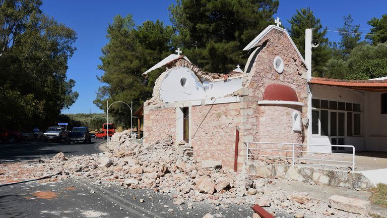 A damaged Greek Orthodox chapel is seen after a strong earthquake in Arcalochori village on the southern island of Crete, Greece, Monday, Sept. 27, 2021. A strong earthquake with a preliminary magnitude of 5.8 has struck the southern Greek island of Crete, and Greek authorities say one person has been killed and several more have been injured PIC:AP