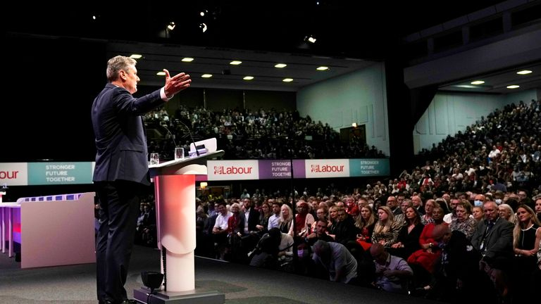 Leader of the British Labour Party Keir Starmer gestures as he makes his keynote speech at the annual party conference in Brighton, England, Wednesday, Sept. 29, 2021 PIC:AP