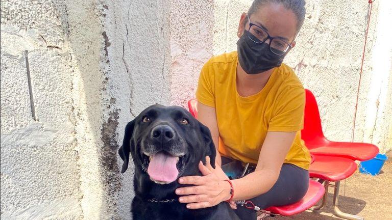 Eliza Gonzales with her dog, Luna