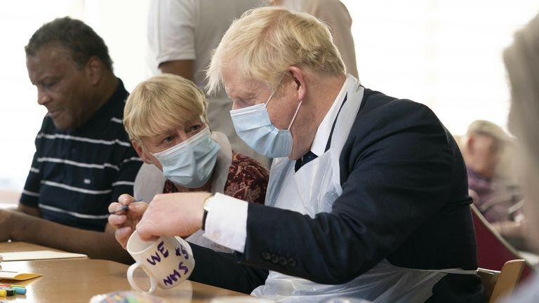 Prime Minister Boris Johnson during a visit to Westport Care Home in Stepney Green, east London, ahead of unveiling his long-awaited plan to fix the broken social care system. Picture date: Tuesday September 7, 2021. Paul Edwards/The Sun/PA Wire/PA Images