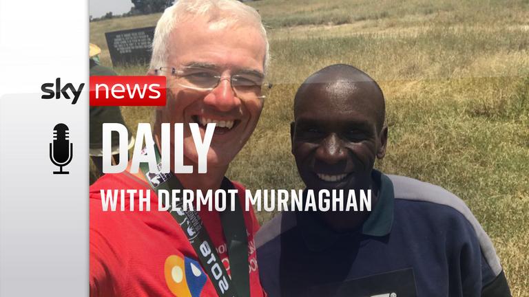 Sky correspondent Enda Brady and Kenyan long-distance runner Eliud Kipchoge. Pic: Enda Brady