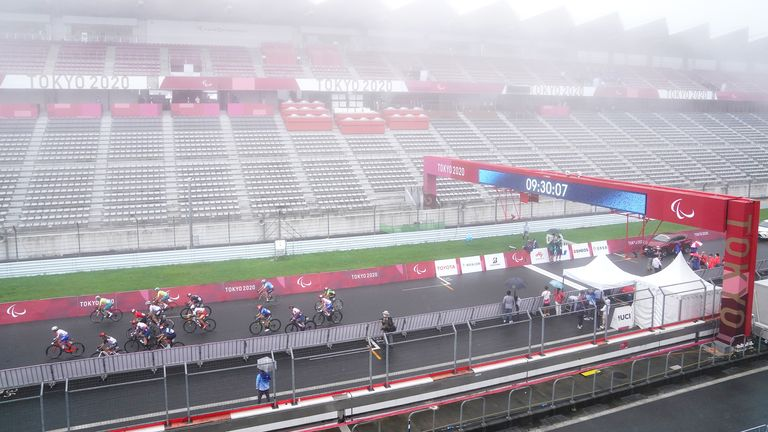 Conditions at the Fuji International Speedway were wet as Dame Sarah claimed her medal