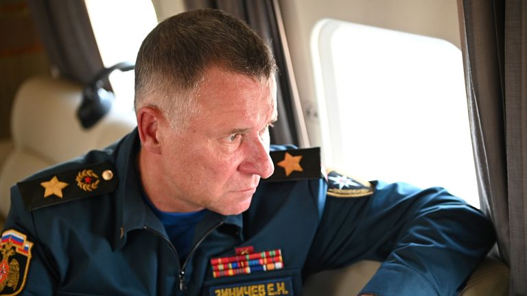 FILE IMAGE - Russia's Emergencies Minister Yevgeny Zinichev observes wildfires sites in Chelyabinsk region