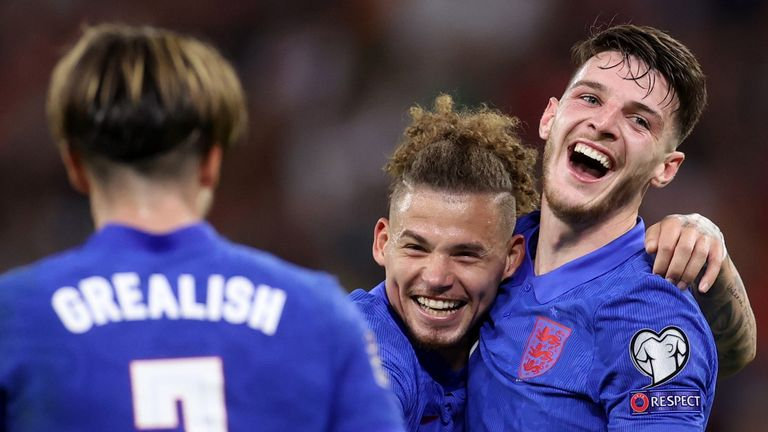Declan Rice celebrates scoring England's fourth goal with Kalvin Phillips and Jack Grealish