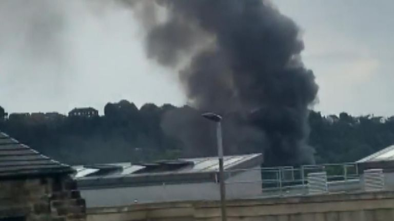 Firefighters are tackling a huge fire which has broken out on an industrial estate in Dewsbury, West Yorkshire.