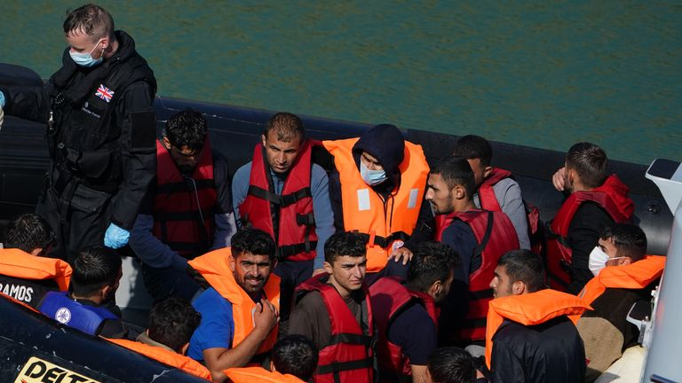 A group of people thought to be migrants are brought in to Dover, Kent, by a Border Force patrol boat, following a small boat incident in the Channel. Picture date: Thursday September 16, 2021.