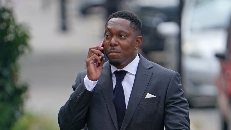 Dizzee Rascal real name Dylan Mills, arrives at Croydon Magistrates' Court where he is charged with assault following an incident at a residential address in Streatham