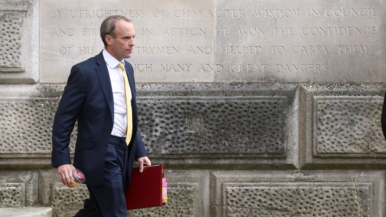 Mr Raab left for Qatar hours after his committee appearance