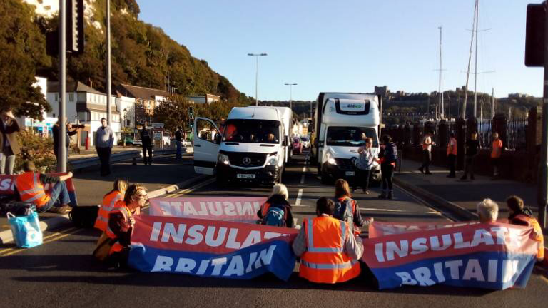 INSULATE BRITAIN BLOCKS THE PORT OF DOVER Images from Press release sent by INSULATE BRITAIN