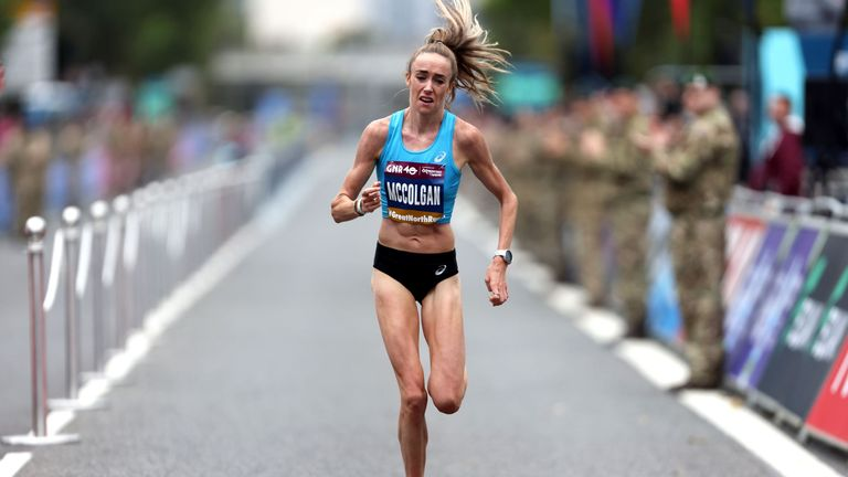 Great Britain's Eilish McColgan finishes second in the women's elite race