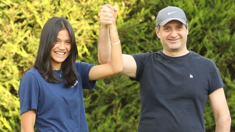Emma Raducanu with her father back at home in Bromley. Pic: Shutterstock