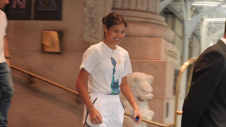 Emma Raducanu leaves her hotel in NYC.