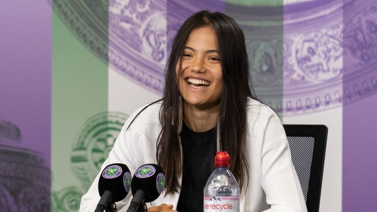 Raducanu during a Wimbledon press conference after her third round victory