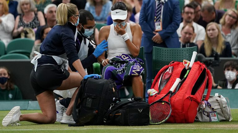 The teenager says she suffered with breathing difficulties and dizziness in her last Wimbledon match