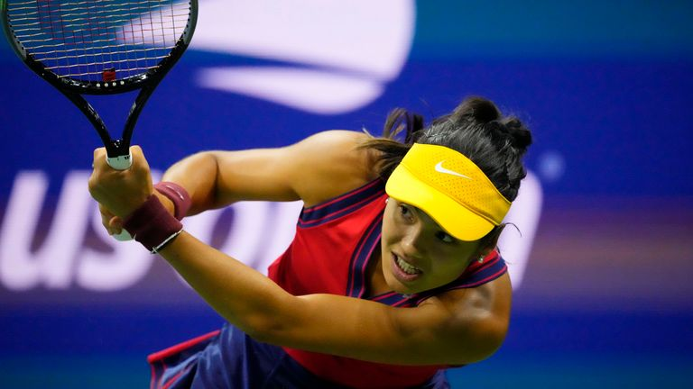 Emma Raducanu of Great Britain hits a backhand against Maria Sakkari of Greece on day eleven of the U.S. Open tennis