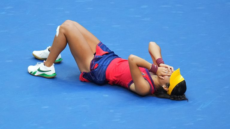 Raducanu was overcome with emotion after realising she was a tennis champion